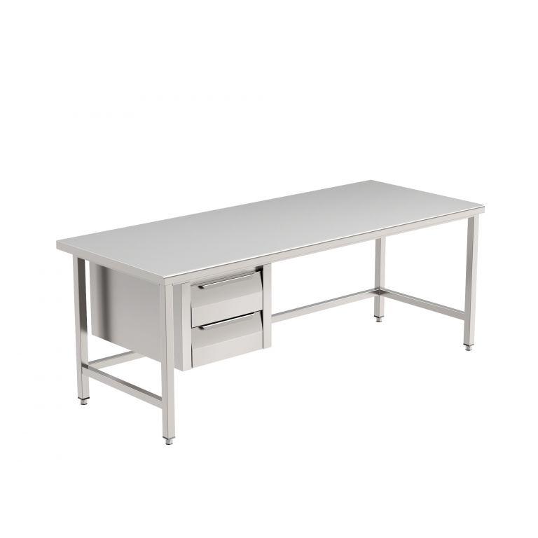 Schubladenunterbau für Tische, aus Edelstahl 1.4301