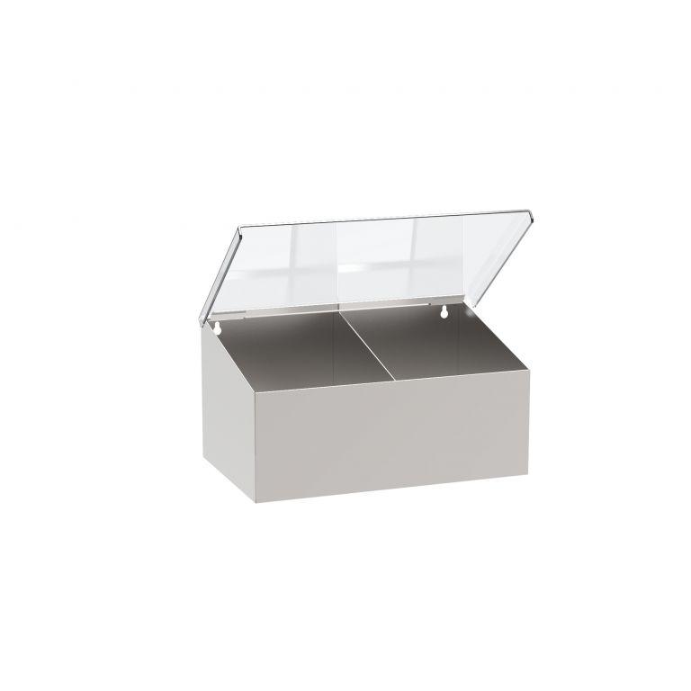 Wand-/Tischspender Edelstahl, zwei Fächer