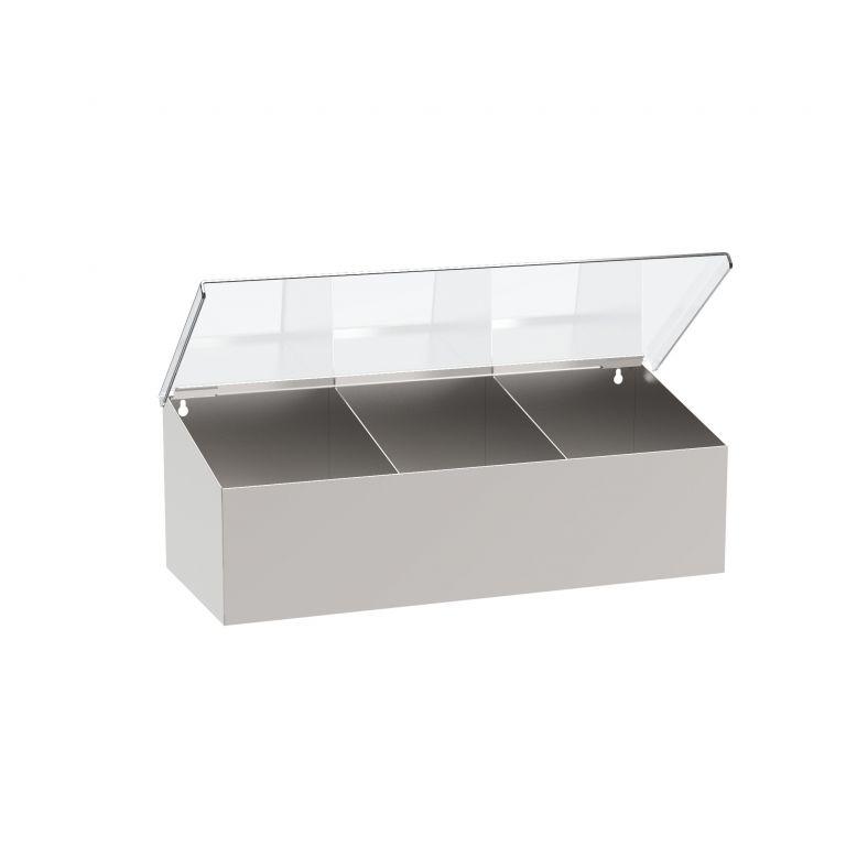 Wand-/Tischspender Edelstahl, drei Fächer