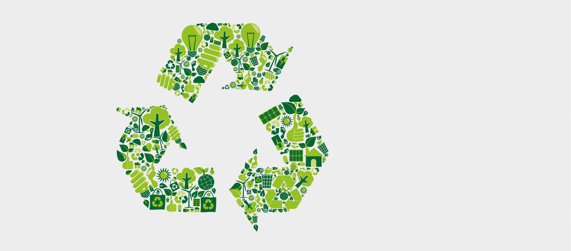 Grünes Recycling-Symbol als Illustration bestehend aus Symbole, die Nachhaltigkeit und biologischer Fußabdruck bedeuten.
